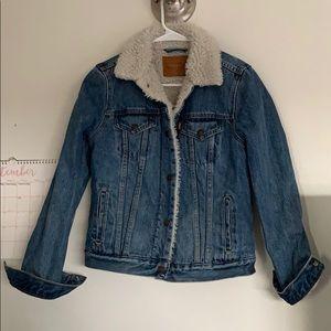 ex boyfriend sherpa trucker denim jean jacket